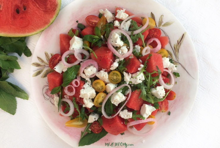 Watermelon Salad with Feta Cheese and Pickled Onions